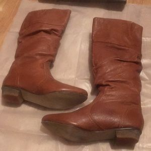 Steve Madden Slouch Cognac Leather Boots